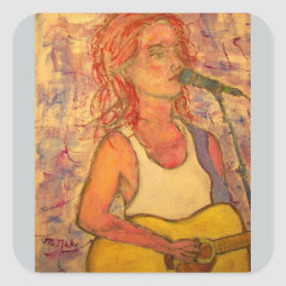 blue microphone songstress square sticker