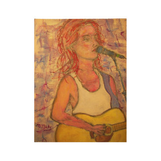blue microphone songstress wood poster