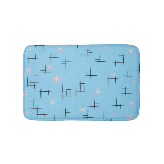 Blue Mid Century Modern Bathroom Mat