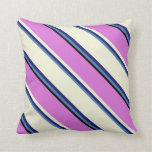 [ Thumbnail: Blue, Midnight Blue, Beige, Orchid & Black Lines Throw Pillow ]