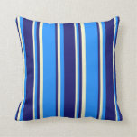 [ Thumbnail: Blue, Midnight Blue & Light Yellow Colored Lines Throw Pillow ]