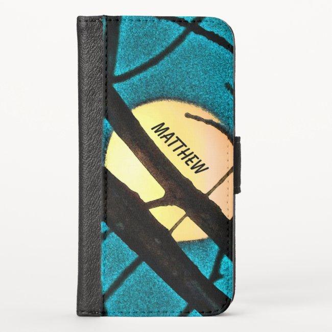 Blue Midnight Moon Branch iPhone X Wallet Case