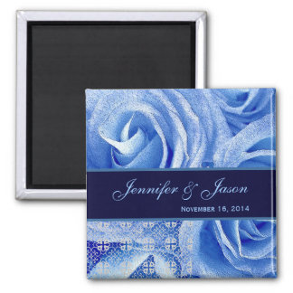 Blue & Midnight Wedding Lace Rose Bouquet 2 Inch Square Magnet