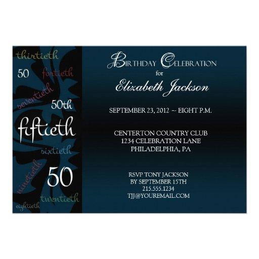 Blue Milestone 50th Birthday Party Invitation