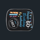 """Blue Milestone Birthday Candles Candy Tin<br><div class=""""desc"""">Perfect for any milestone birthday complete with birthday candles and year of birth.  Want a different color scheme?  Just ASK!</div>"""