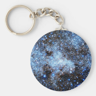 Blue Milky Way Galaxy Basic Round Button Keychain