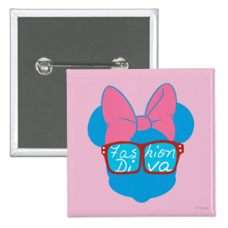 Blue Minnie | Diva Red Sunglasses Pinback Button