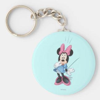 Blue Minnie   Surprised Basic Round Button Keychain