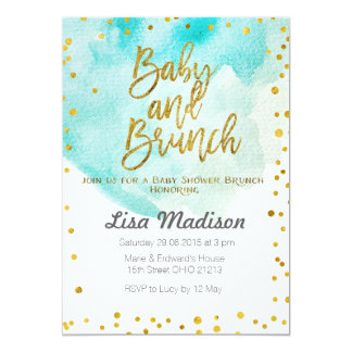 Blue Mint Baby Shower Brunch Invitation