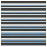 [ Thumbnail: Blue, Mint Cream & Black Colored Striped Pattern Fabric ]