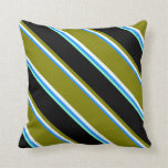 [ Thumbnail: Blue, Mint Cream, Green, Black & Aquamarine Lines Throw Pillow ]
