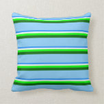 [ Thumbnail: Blue, Mint Cream, Lime, Dark Green, Light Sky Blue Throw Pillow ]
