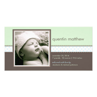 Blue | Mint Sweet Baby Boy Birth Announcement Personalized Photo Card