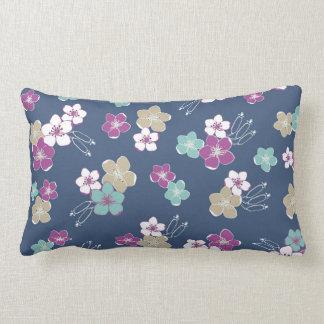 Blue Mint & violet hawaiian flowers exotic pattern Pillow
