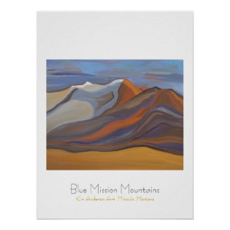 Blue Mission Mountains Poster