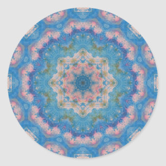 Blue Mixed Media Mandala Round Sticker