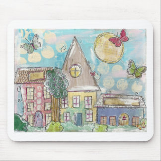 Blue Mixed Media Whimsical Village Mouse Pad