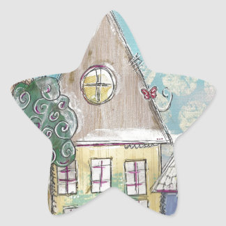 Blue Mixed Media Whimsical Village Star Sticker