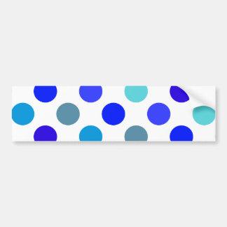 Blue Mixed Polka Dots Bumper Stickers