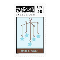 Blue Mobile Baby Shower Postage