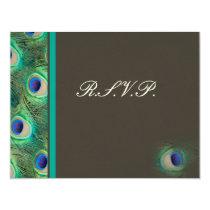 blue mocha peacock  rsvp cards