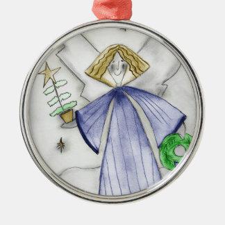 Blue Mod Angel Ornament
