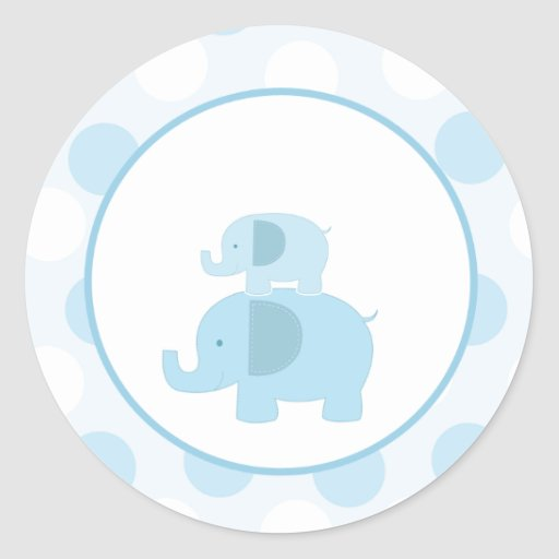 Blue Mod Elephant Envelope Seals / Toppers 20