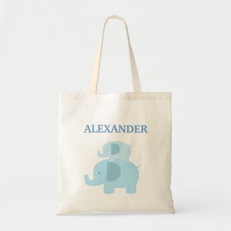 Blue Mod Elephants Diaper Tote Bag - add a NAME