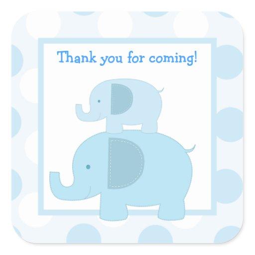 Blue Mod Elephants Square Envelope Seals 20