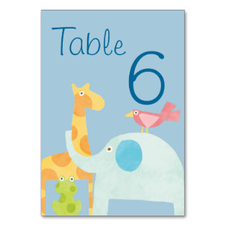 Blue Mod Jungle Animal Baby Shower Table Card