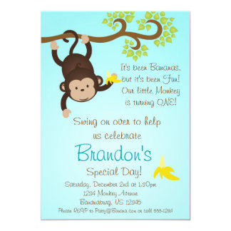 Blue Mod Monkey Boys Birthday Party Invite