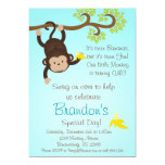 "Blue Mod Monkey Boys Birthday Party Invite 5"" X 7"" Invitation Card"