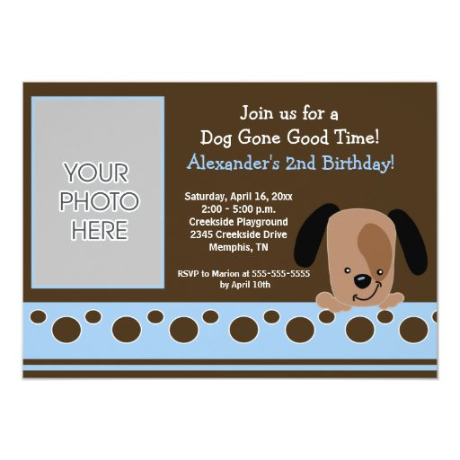 Blue Mod Puppy *PHOTO* Birthday 5x7 Card