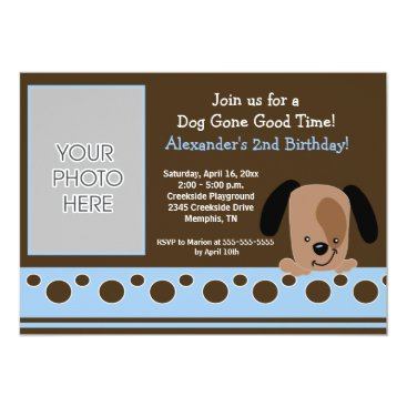 Blue Mod Puppy *PHOTO* Birthday 5x7 Personalized Invitations