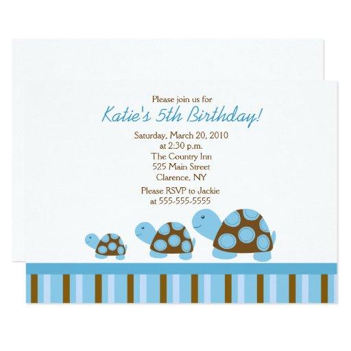 Blue Mod Turtles 5x7 Birthday Invitation