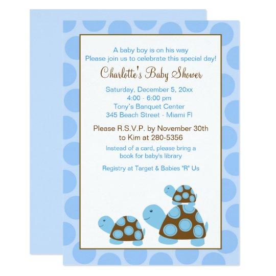 Blue Mod Turtles Dot Boy Baby Shower Invitation Zazzle