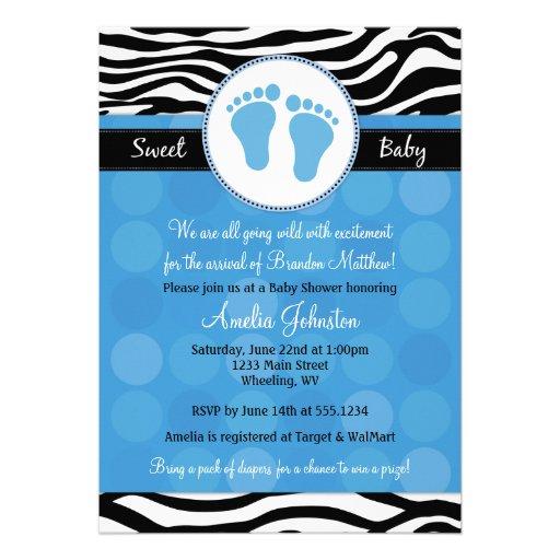 zebra print baby shower invitations 5 x 7 invitation card z