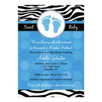 Blue Mod Zebra Print Baby Shower Invitations