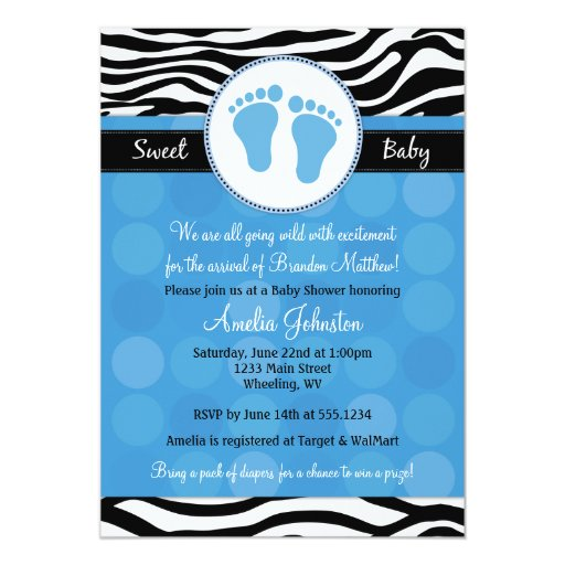 blue mod zebra print baby shower invitations zazzle