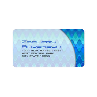 Blue Mod Zig Zag Chevron Funky Waves Address Label