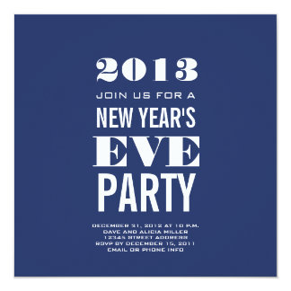 Blue Modern 2013 New Year's Eve Party Invitation