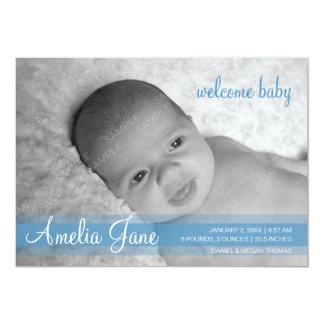 Blue Modern Baby Announcement