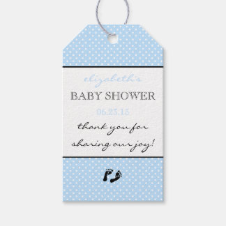 Blue Modern Baby Shower Thank You With Swiss Dots Gift Tags