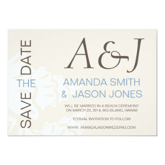 BLUE MODERN BEACH SAVE THE DATE PERSONALIZED INVITES