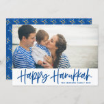 """Blue Modern Calligraphy Happy Hanukkah Photo Holiday Card<br><div class=""""desc"""">Happy Hanukkah! Send Hanukkah wishes to family and friends with this customizable photo flat card. It features blue modern calligraphy with an olives pattern. Personalize by adding names and a photo. This Happy Hanukkah script card is available in other cardstock.</div>"""