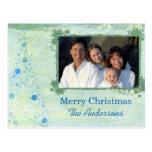 Blue Modern Christmas Tree Family  Photo Postcard