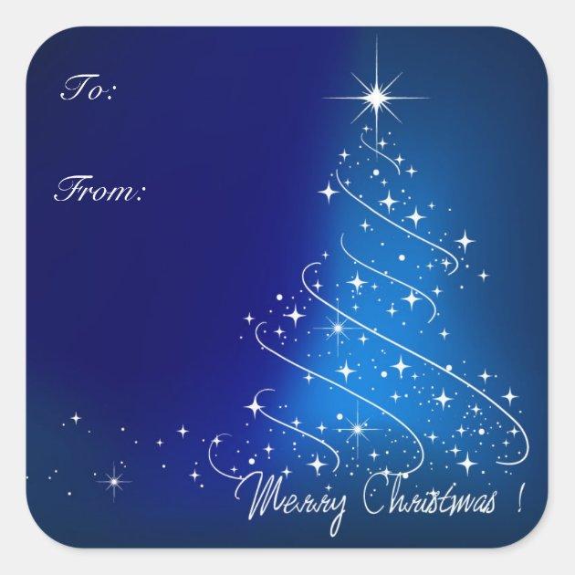 Blue Modern Christmas Tree Gift Tag Stickers Zazzle Com