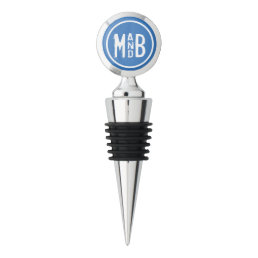 Blue Modern Couples Monogram Wine Stopper