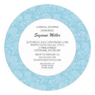 Blue Modern Damask Round BRIDAL SHOWER INVITE Invite