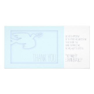 Blue Modern Dove Child Custom Sympathy Thank You Card